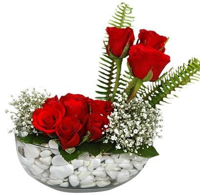 cam içerisinde 9 adet kirmizi gül  Bayburt çiçek siparişi vermek