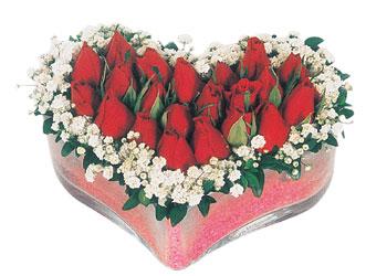 Bayburt çiçekçi telefonları  mika kalpte kirmizi güller 9