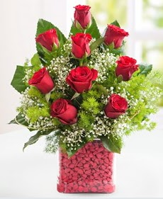 Cam içerisinde 9 adet kırmızı gül  Bayburt internetten çiçek satışı