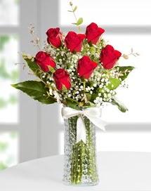 Cam vazoda 7 adet kırmızı gül  Bayburt çiçek , çiçekçi , çiçekçilik