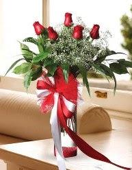 Camda 5 kırmızı gül tanzimi  Bayburt çiçekçi telefonları