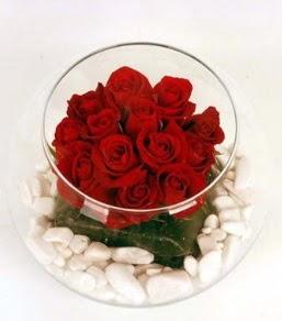 Cam fanusta 11 adet kırmızı gül  Bayburt çiçek gönderme