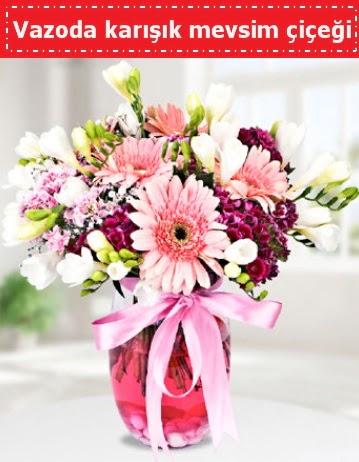 Vazoda karışık mevsim çiçeği  Bayburt çiçek , çiçekçi , çiçekçilik