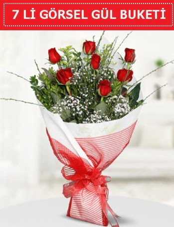 7 adet kırmızı gül buketi Aşk budur  Bayburt çiçek satışı