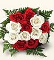 Bayburt çiçek , çiçekçi , çiçekçilik  10 adet kirmizi beyaz güller - anneler günü için ideal seçimdir -
