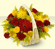 Bayburt 14 şubat sevgililer günü çiçek  sepette mevsim çiçekleri