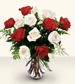 Bayburt uluslararası çiçek gönderme  6 adet kirmizi 6 adet beyaz gül cam içerisinde