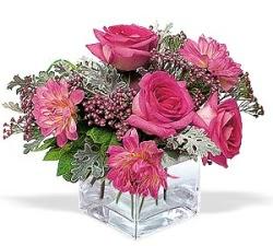 Bayburt cicekciler , cicek siparisi  cam içerisinde 5 gül 7 gerbera çiçegi
