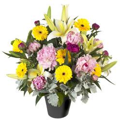 karisik mevsim çiçeklerinden vazo tanzimi  Bayburt uluslararası çiçek gönderme