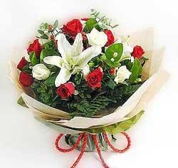 güller ve kazablanklardan görsel bir buket  Bayburt internetten çiçek satışı