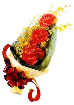 özel 5 adet antorium buketi   Bayburt çiçek gönderme sitemiz güvenlidir