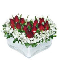 Bayburt internetten çiçek siparişi  mika kalp içerisinde 9 adet kirmizi gül