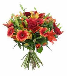 Bayburt çiçek gönderme  3 adet kirmizi gül ve karisik kir çiçekleri demeti