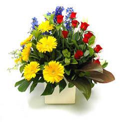 Bayburt online çiçek gönderme sipariş  9 adet gül ve kir çiçekleri cam yada mika vazoda