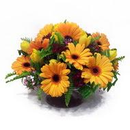 gerbera ve kir çiçek masa aranjmani  Bayburt çiçek siparişi vermek