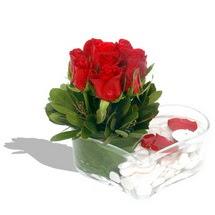 Mika kalp içerisinde 9 adet kirmizi gül  Bayburt çiçek servisi , çiçekçi adresleri