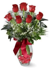 7 adet vazoda gül  Bayburt internetten çiçek satışı  kirmizi gül