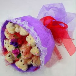 11 adet ayiciktan buket  Bayburt internetten çiçek siparişi