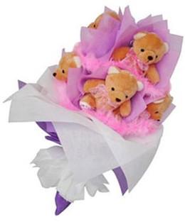 9 adet ayiciktan buket  Bayburt hediye sevgilime hediye çiçek