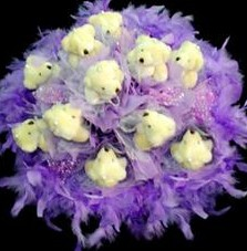 11 adet pelus ayicik buketi  Bayburt çiçek , çiçekçi , çiçekçilik