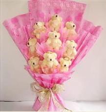 9 adet pelus ayicik buketi  Bayburt anneler günü çiçek yolla