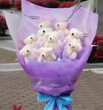 11 adet pelus ayicik buketi  Bayburt ucuz çiçek gönder
