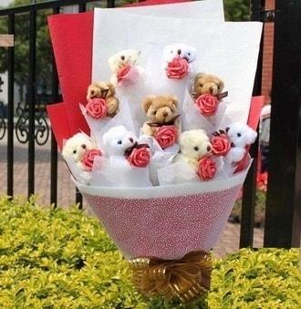 Bayburt çiçek siparişi vermek  9 adet ayicik ve 9 adet yapay gül