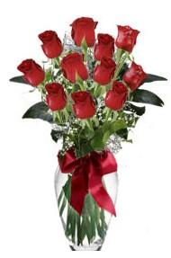11 adet kirmizi gül vazo mika vazo içinde  Bayburt 14 şubat sevgililer günü çiçek