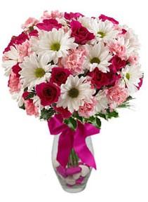 Bayburt çiçek siparişi sitesi  Karisik mevsim kir çiçegi vazosu