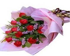 11 adet kirmizi güllerden görsel buket  Bayburt çiçek gönderme sitemiz güvenlidir
