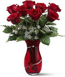 Vazo içinde 8 adet kirmizilar içinde güller  Bayburt internetten çiçek siparişi