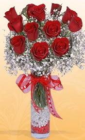 10 adet kirmizi gülden vazo tanzimi  Bayburt çiçek siparişi sitesi