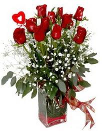 Bayburt çiçek siparişi vermek  9 adet mika yada cam vazoda gül tanzimi kalp çubuk