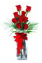 Bayburt çiçekçi telefonları  9 adet mika yada cam vazoda gül tanzimi