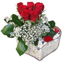 Bayburt güvenli kaliteli hızlı çiçek  kalp mika içerisinde 7 adet kirmizi gül