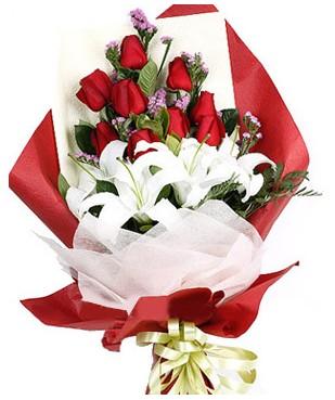 Bayburt çiçekçiler  1 dal kazablankaa 9 adet kırmızı gül buketi