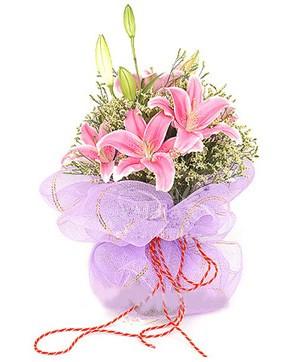 3 dal kazablanka görsel buketi  Bayburt internetten çiçek satışı