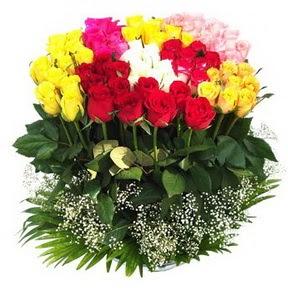 Bayburt çiçek mağazası , çiçekçi adresleri  51 adet renkli güllerden aranjman tanzimi