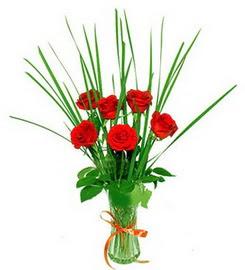 Bayburt çiçek , çiçekçi , çiçekçilik  6 adet kırmızı güllerden vazo çiçeği
