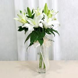 Bayburt anneler günü çiçek yolla  2 dal kazablanka ile yapılmış vazo çiçeği