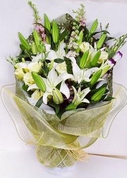 Bayburt çiçek servisi , çiçekçi adresleri  3 adet kazablankalardan görsel buket çiçeği
