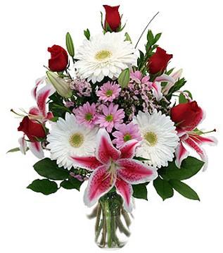Bayburt çiçek mağazası , çiçekçi adresleri  1 dal kazablanka 5 gül ve kırçiçeği vazosu