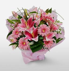 1 dal kazablanka ve kır çiçek görsel buketi  Bayburt internetten çiçek satışı