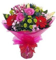 Karışık mevsim çiçekleri demeti  Bayburt online çiçek gönderme sipariş