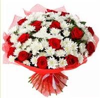11 adet kırmızı gül ve beyaz kır çiçeği  Bayburt internetten çiçek satışı