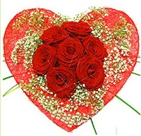 Mika kalp içerisinde 7 adet kırmızı gül  Bayburt çiçekçi mağazası