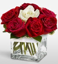 Tek aşkımsın çiçeği 8 kırmızı 1 beyaz gül  Bayburt uluslararası çiçek gönderme