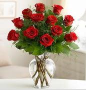 Vazo içerisinde 12 kırmızı gül  Bayburt çiçek satışı