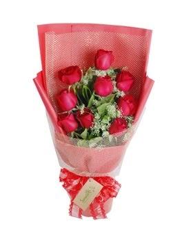 9 adet kırmızı gülden görsel buket  Bayburt ucuz çiçek gönder