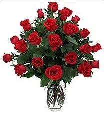 Bayburt çiçek siparişi sitesi  24 adet kırmızı gülden vazo tanzimi